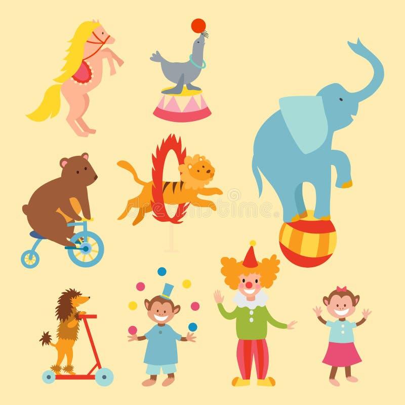 马戏滑稽的动物设置了传染媒介象快乐的动物园娱乐汇集变戏法者宠物魔术师执行者狂欢节 向量例证