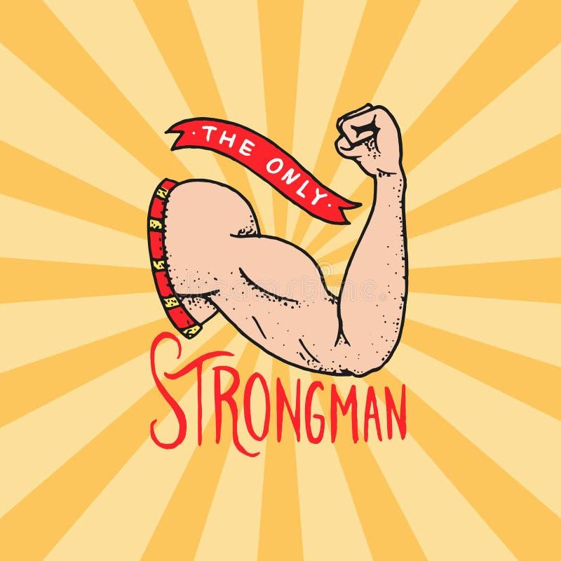 马戏爱好健美者徽章 肌肉导电线胳膊 葡萄酒狂欢节商标或象征 节日横幅的强的强壮男子的标签 库存例证