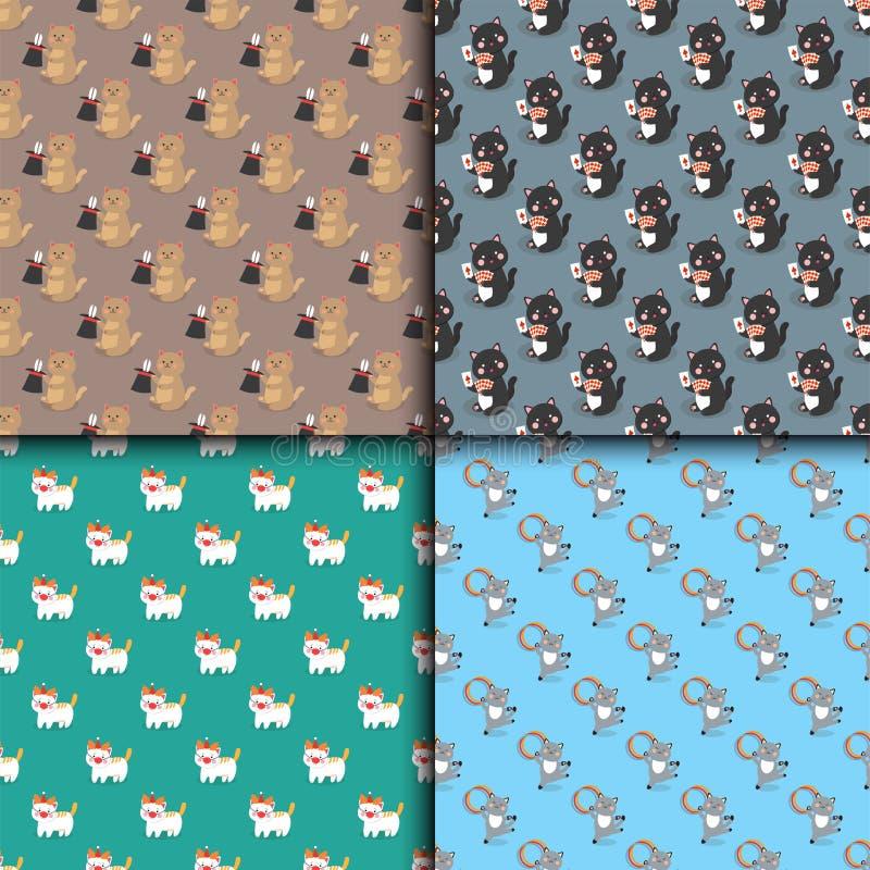 马戏猫无缝的样式传染媒介快乐的例证演奏哺乳动物的一点家养的动画片动物 向量例证