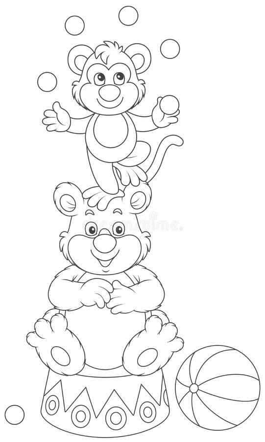 马戏猴子和熊 向量例证