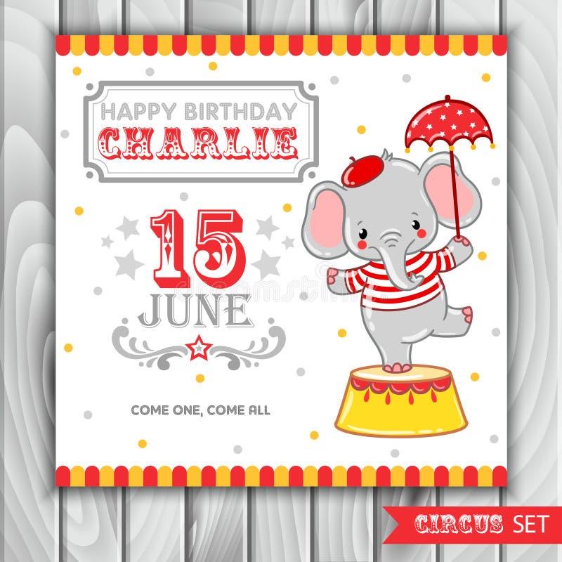 马戏生日快乐卡片设计 库存例证