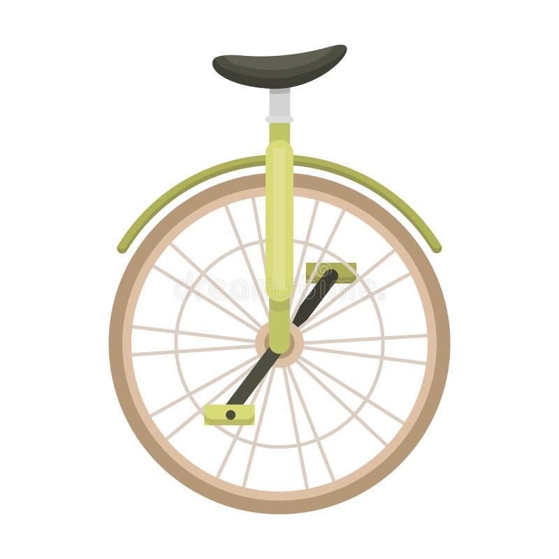 马戏的单轮脚踏车 有一个轮子的自行车表现的 另外在动画片样式传染媒介的自行车唯一象 库存例证