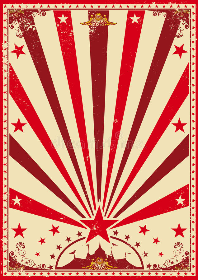 马戏葡萄酒红色海报 皇族释放例证