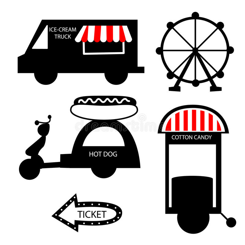 马戏食物卡车冰淇凌,与狂欢节,游乐园的马戏汇集 库存照片