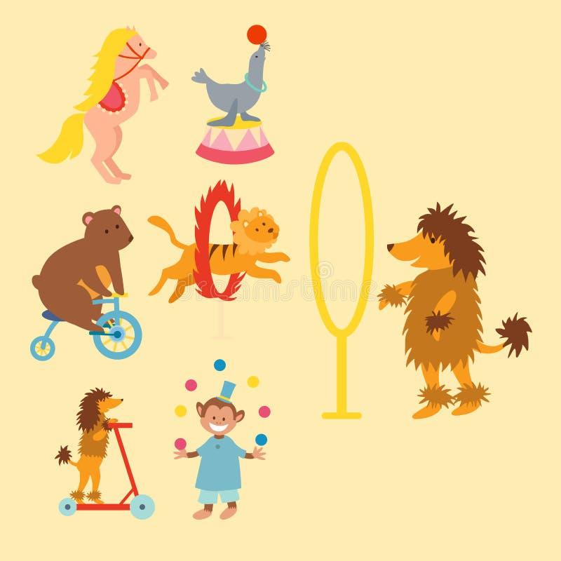 马戏滑稽的动物设置了传染媒介象快乐的动物园娱乐汇集变戏法者宠物魔术师执行者狂欢节 库存例证
