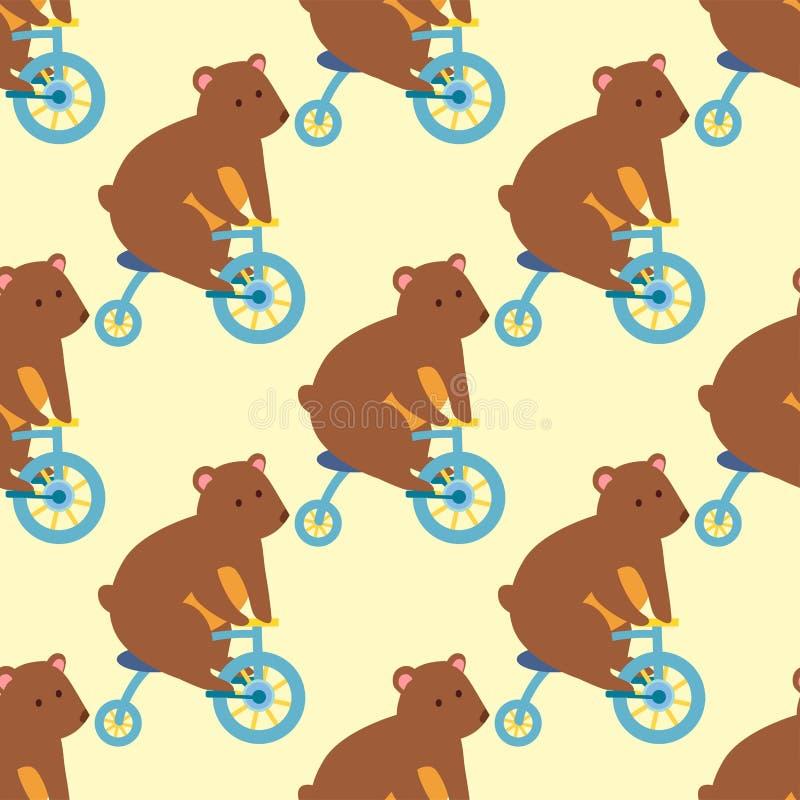 马戏滑稽的表现熊动物传染媒介无缝的样式快乐的动物园娱乐变戏法者魔术师执行者 向量例证