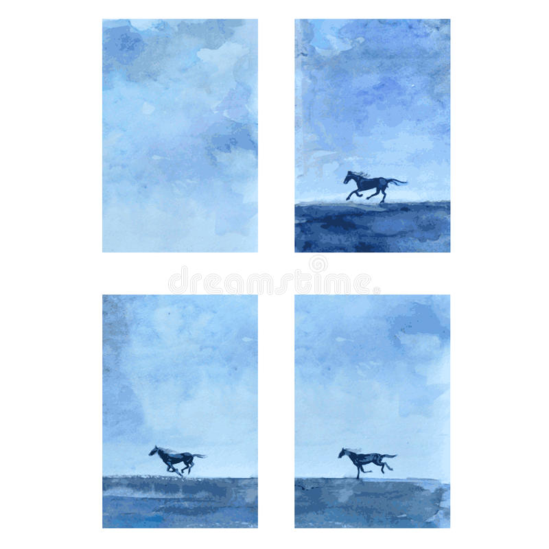 马手拉的水彩传染媒介摘要例证,与跑马,野生动物,模板的垂直的横幅 向量例证