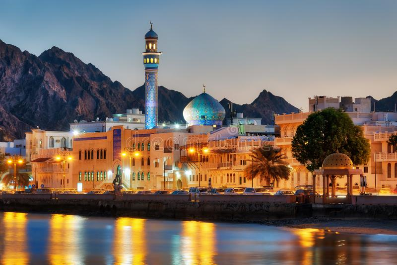 马托拉Corniche,马斯喀特,阿曼 免版税库存照片
