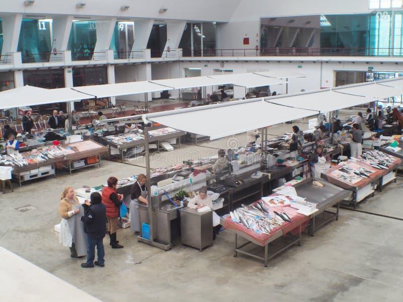 马托西纽什市场内部视图 库存图片