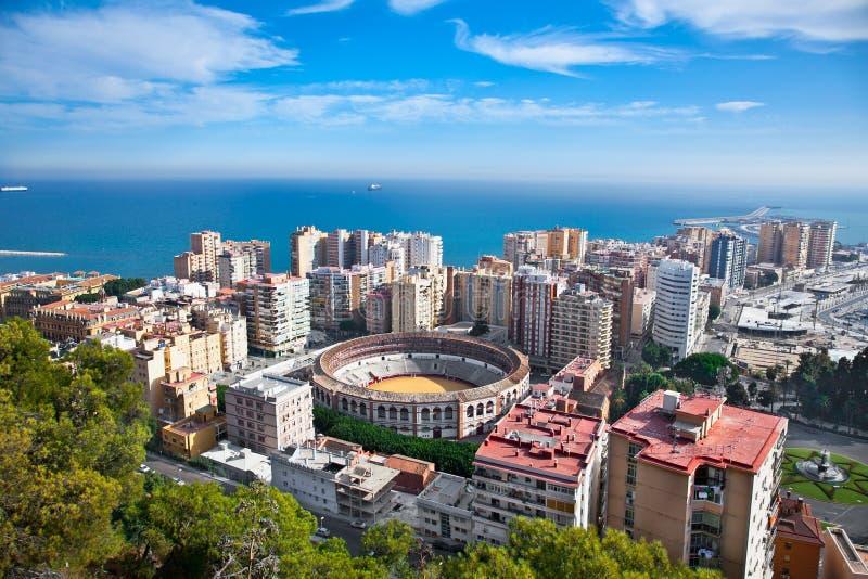 马拉加市全景,安大路西亚,西班牙 免版税库存照片