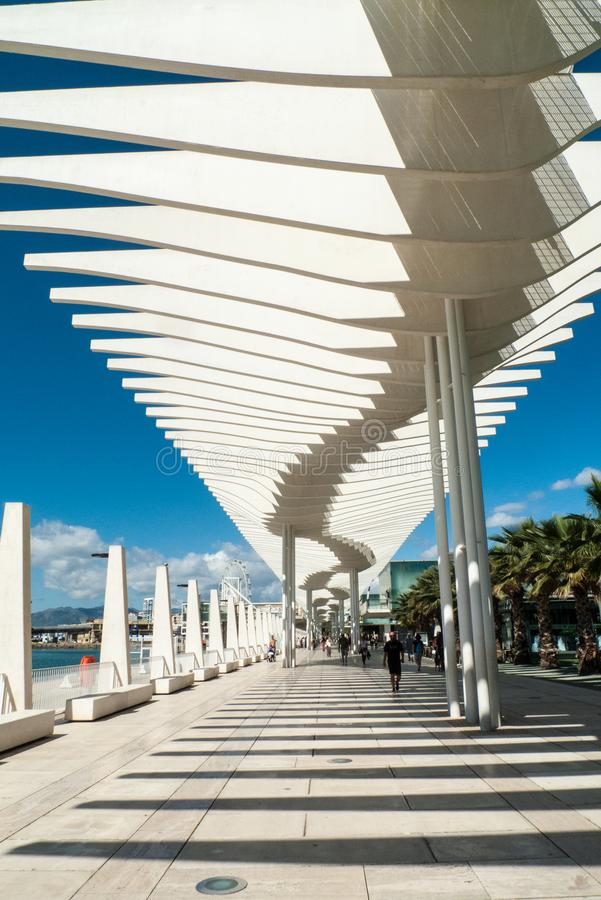马拉加沿海岸区散步,西班牙 免版税图库摄影