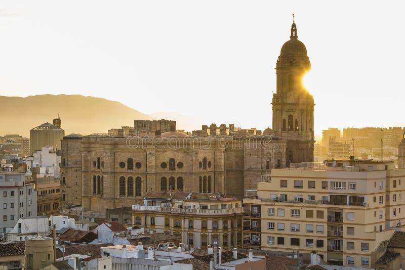马拉加,西班牙大教堂 免版税库存图片