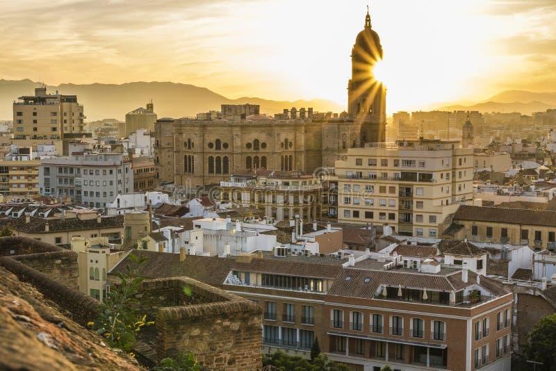 马拉加,西班牙大教堂 库存照片