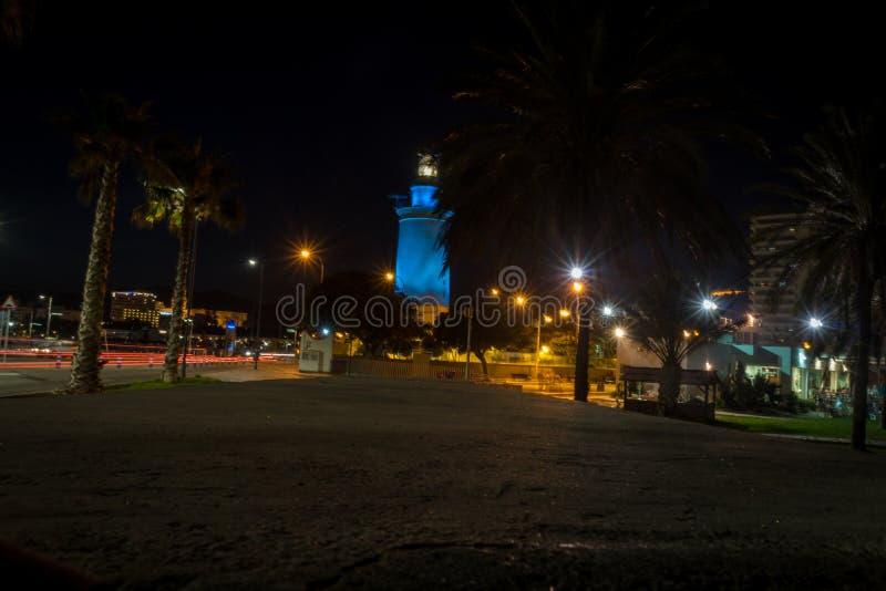 马拉加,西班牙,欧洲白色灯塔的看法  免版税库存照片