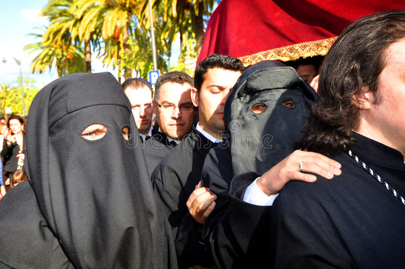 马拉加,西班牙- 4月09 :圣周传统队伍我 免版税图库摄影
