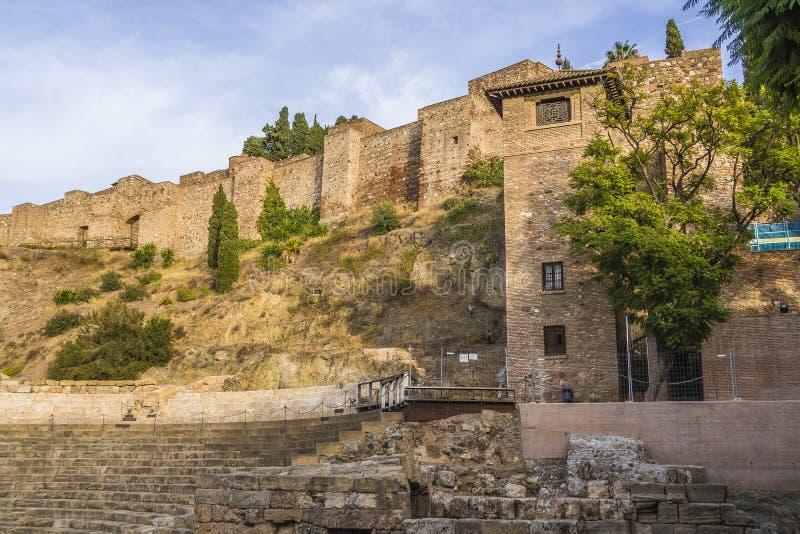 马拉加,西班牙Alcazaba 免版税库存照片