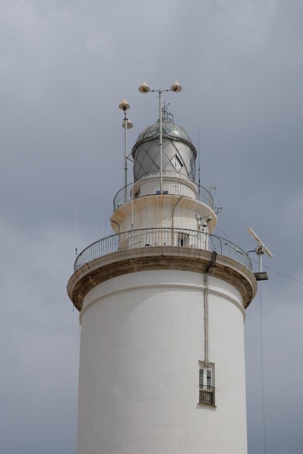 马拉加, ANDALUCIA/SPAIN - 7月5日:灯塔在港口是 免版税库存图片