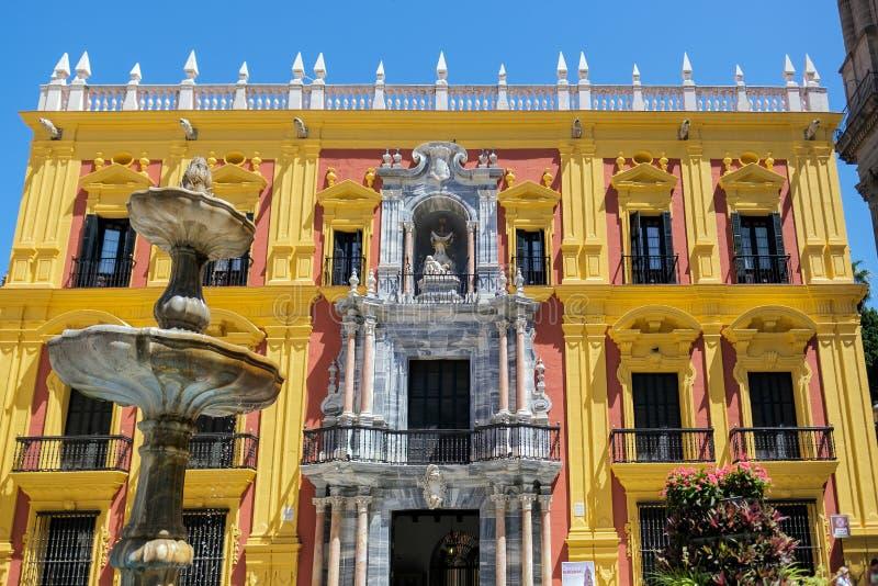 马拉加, ANDALUCIA/SPAIN - 5月25日:巴洛克式的主教的Palace desig 库存照片