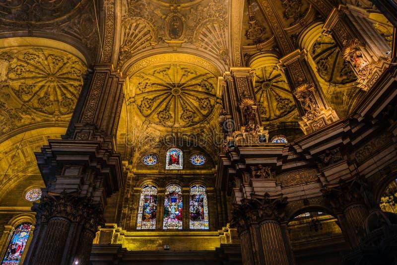 马拉加, ANDALUCIA/SPAIN - 7月5日:主教的座位的内部看法 免版税库存图片
