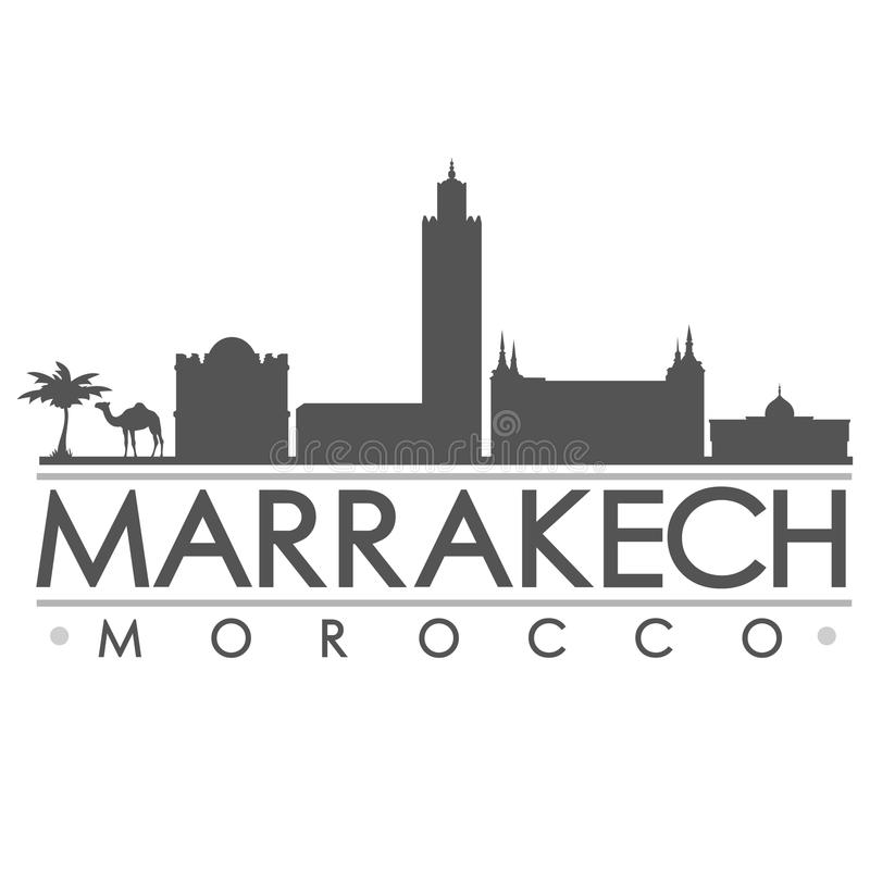 马拉喀什悉尼剪影设计城市传染媒介艺术 库存例证