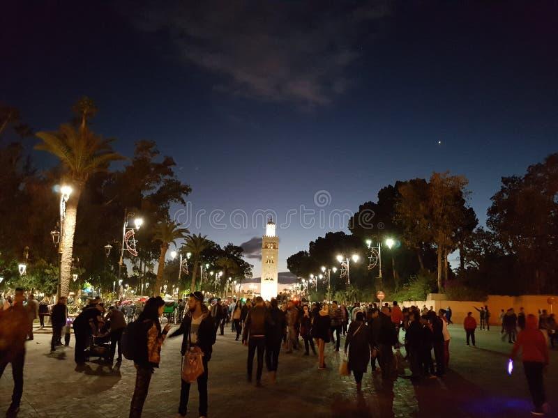 马拉喀什夜,摩洛哥 图库摄影