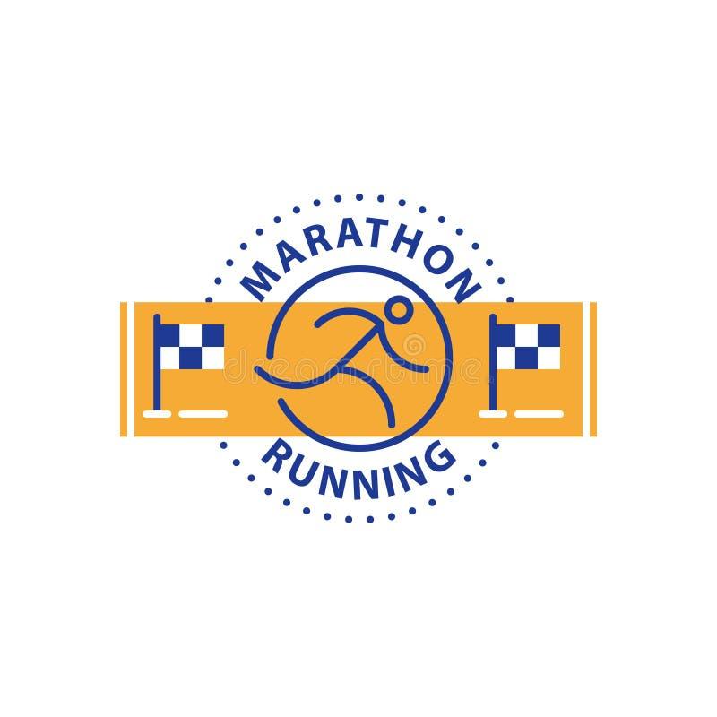 马拉松事件,连续商标,体育挑战,传染媒介线象 皇族释放例证