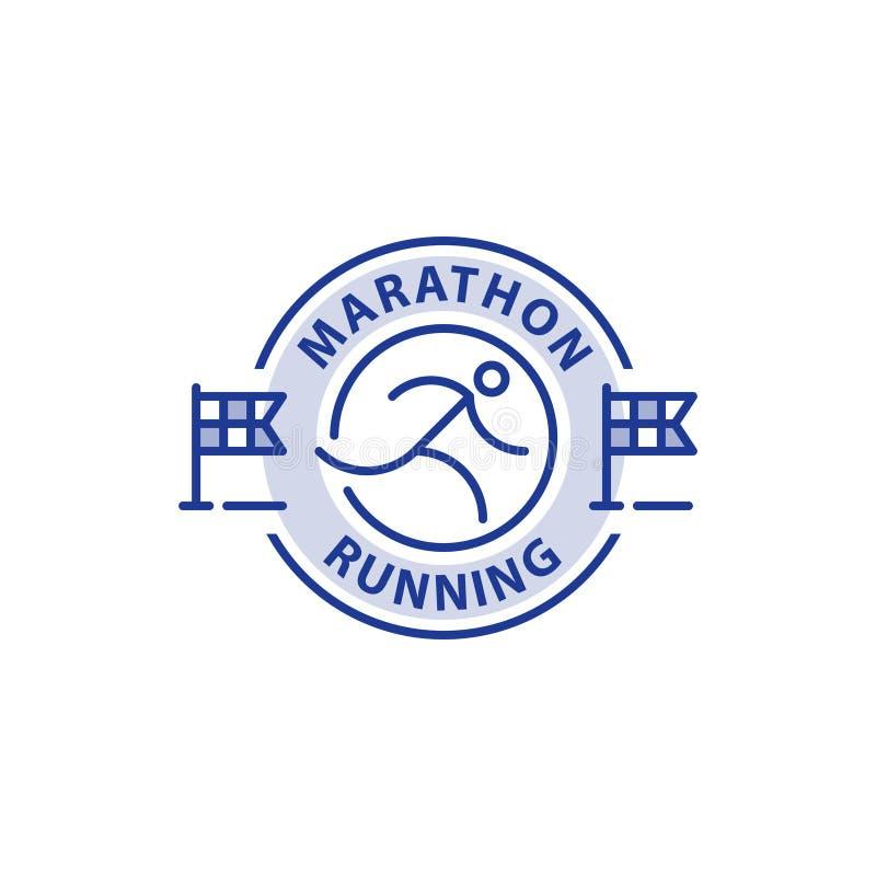 马拉松事件,连续商标,体育挑战,传染媒介线象 向量例证