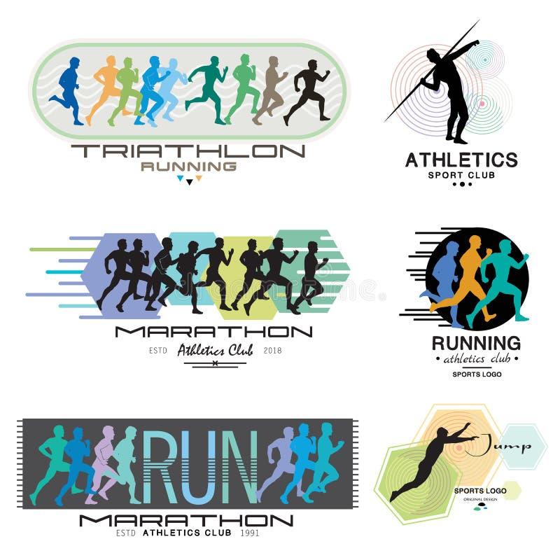 马拉松的例证 海报-三项全能,短跑,奔跑 跑商标 皇族释放例证