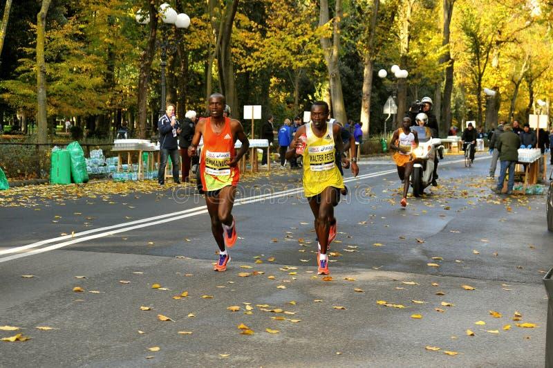 马拉松运动员在佛罗伦萨,意大利 免版税库存照片