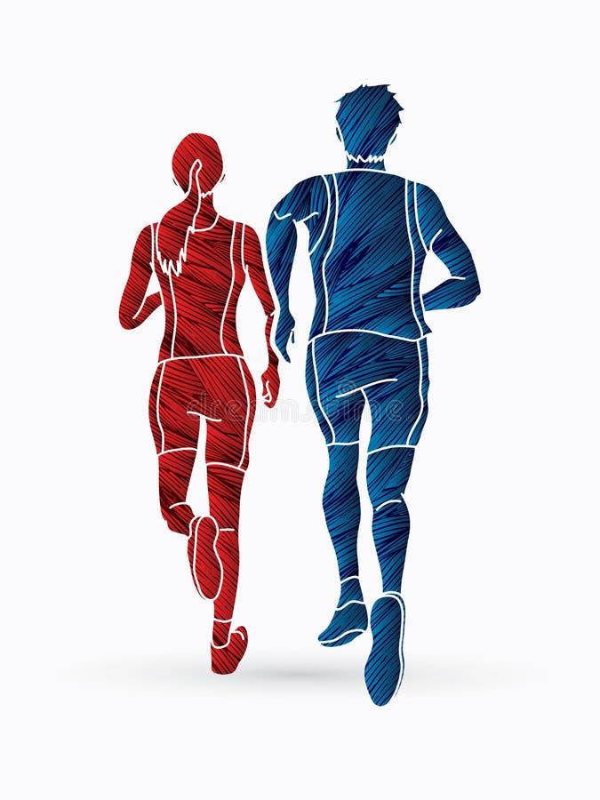 马拉松运动员,一起跑图表传染媒介的夫妇 库存例证