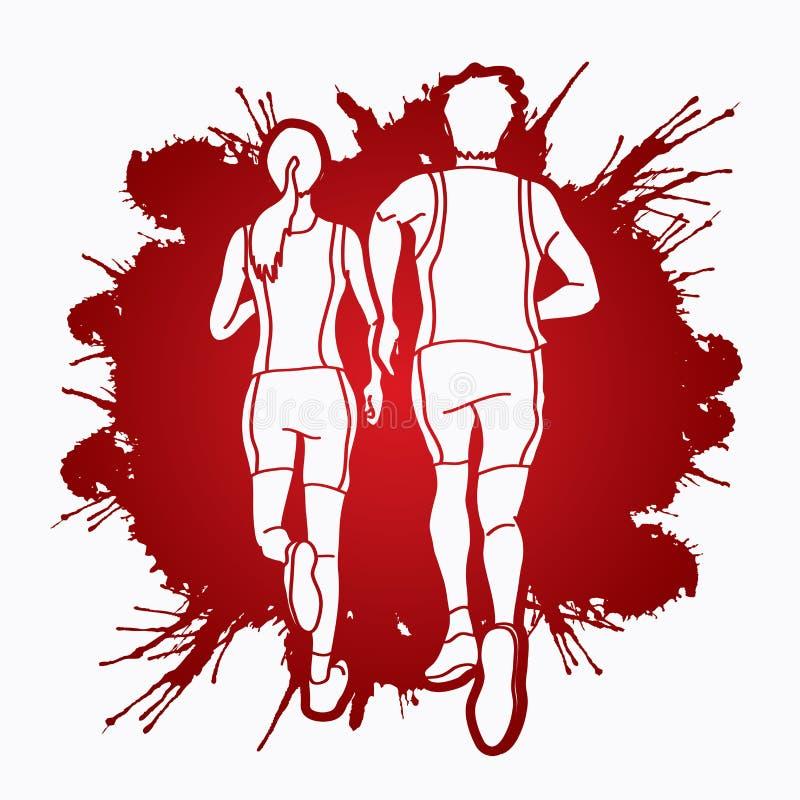 马拉松运动员,一起跑图表传染媒介的夫妇 向量例证
