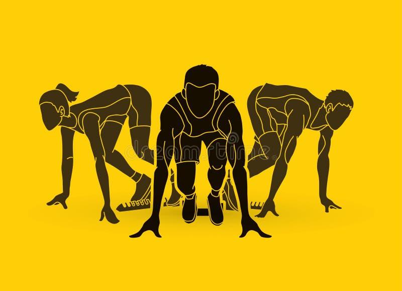 马拉松运动员,起动赛跑,人连续行动图表传染媒介 库存例证