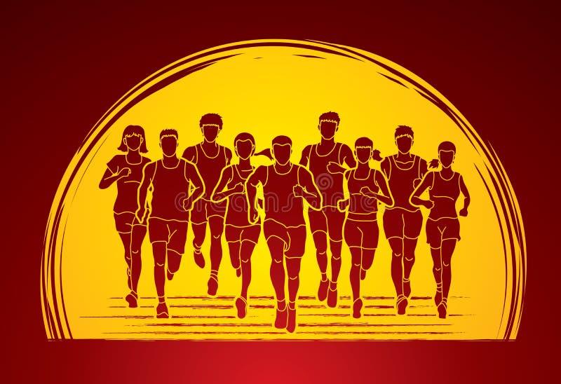 马拉松运动员,跑人的,男人和妇女跑 皇族释放例证