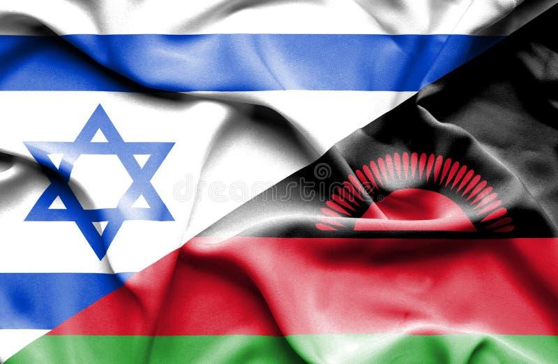 马拉维和以色列的挥动的旗子 向量例证