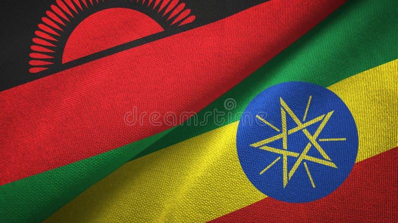 马拉维和埃塞俄比亚两旗子纺织品布料,织品纹理 库存例证