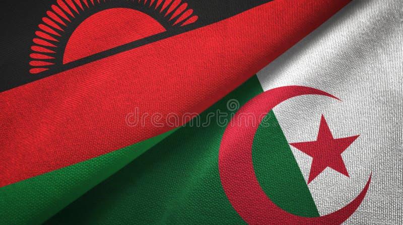 马拉维和阿尔及利亚两旗子纺织品布料,织品纹理 库存例证
