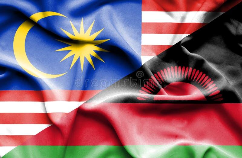 马拉维和马来西亚的挥动的旗子 皇族释放例证