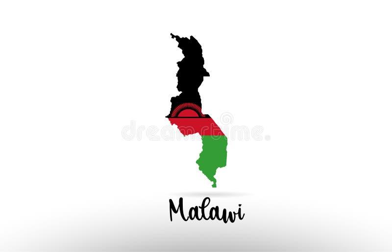 马拉维在地图等高设计象商标里面的国旗 向量例证