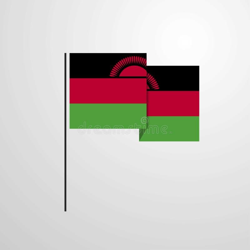 马拉维挥动的旗子设计传染媒介背景 皇族释放例证