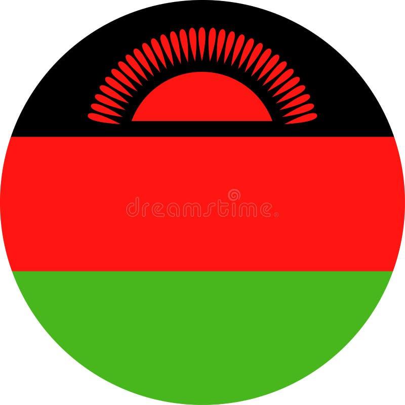马拉维旗子传染媒介圆的平的象 库存例证