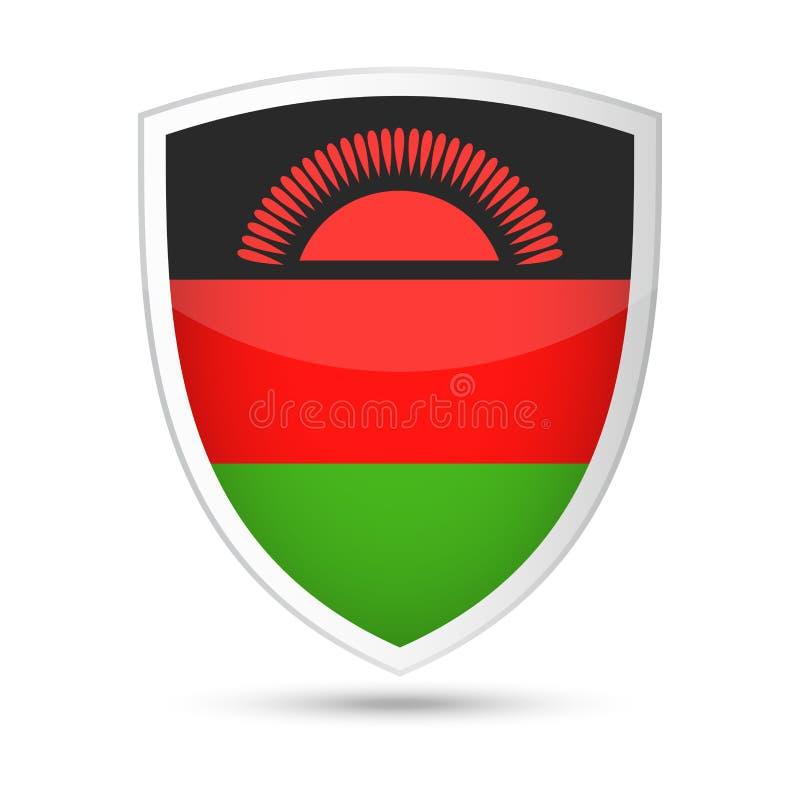 马拉维旗子传染媒介盾象 库存例证