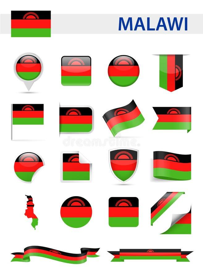 马拉维旗子传染媒介集合 库存例证