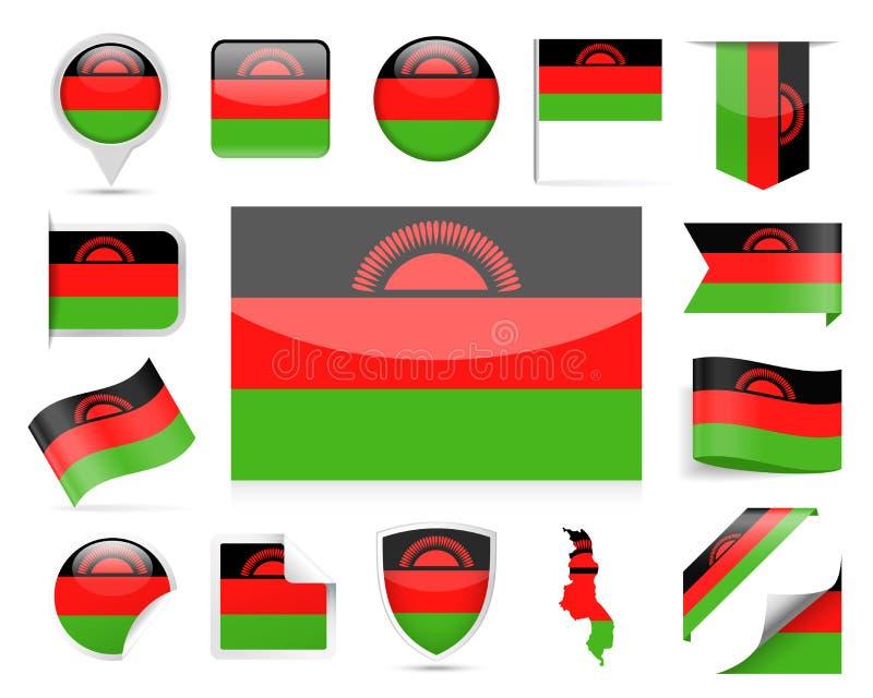 马拉维旗子传染媒介集合 向量例证