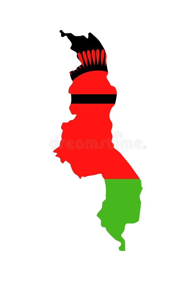 马拉维旗子国家等高传染媒介象 库存例证