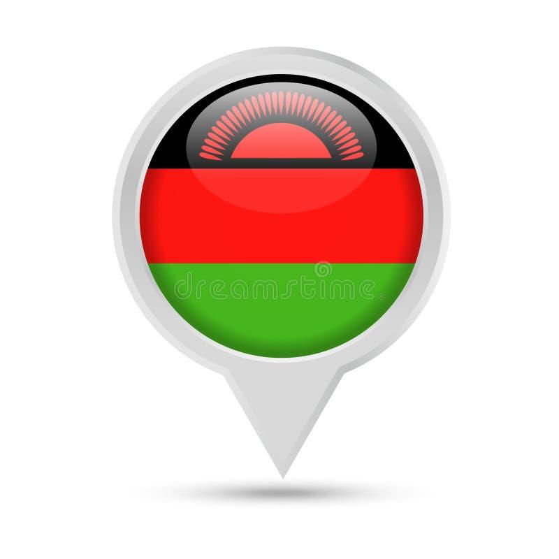 马拉维旗子圆的Pin传染媒介象 皇族释放例证