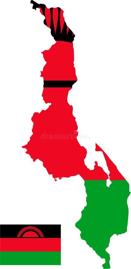马拉维的传染媒介地图有旗子的 被隔绝的,白色背景 皇族释放例证