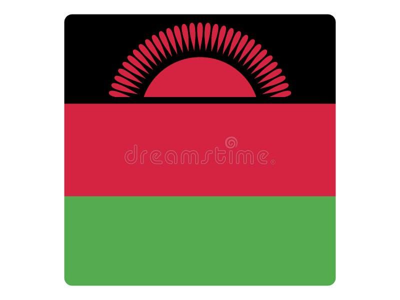 马拉维的方形的旗子 库存例证