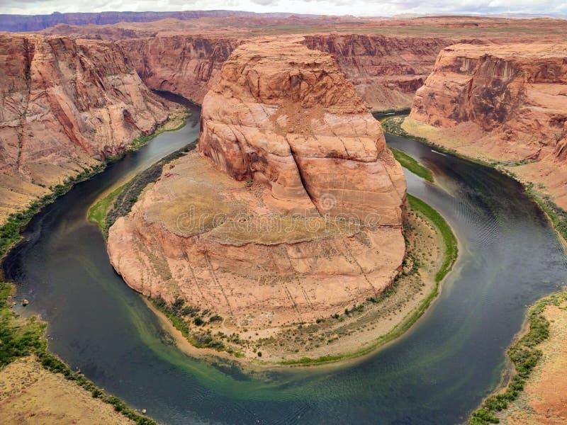 马掌弯,亚利桑那 科罗拉多河,美国的马蹄形的被切的河曲 免版税库存图片