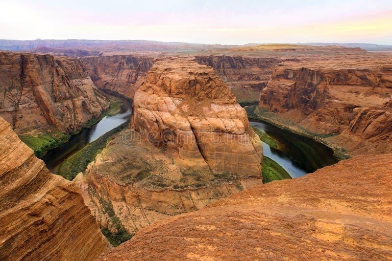 马掌弯,科罗拉多河,幽谷峡谷,亚利桑那,美国 图库摄影
