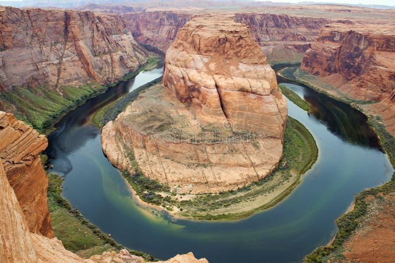 马掌弯,科罗拉多河,幽谷峡谷,亚利桑那,美国 免版税库存照片